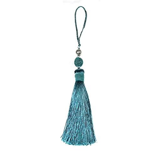 1 Pieza Cuerda Colgante borlas de Seda Flecos Costura Bang Borla embellecedor borlas Clave para Accesorios de Cortina de Bricolaje para decoración del hogar-China, Azul