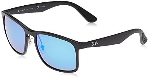 Ray-Ban Men's RB4264 Chromance Square Sunglasses, Matte Black/Polarized Blue Mirror, 58 mm