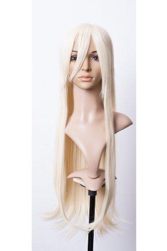 Prettyland Perruque longue 80cm Blond Creme raide droite Volume Naturel résistant la chaleur Cosplay Wig C754
