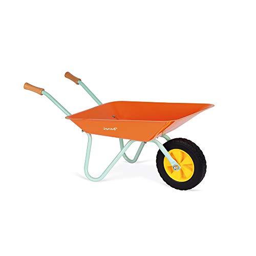 Janod - Happy Garden - Metal Wheelbarrow for Children with Shovel and Rake...