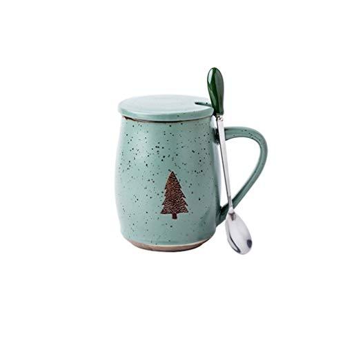 A-myt Chic y Exquisito Taza nórdica Resistente al Calor noblemática con Tapa de 500 ml Tazas de cerámica de café Tazas de café de la Taza de los niños Regalo de la Oficina de la Oficina