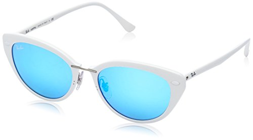 Ray-Ban Women's RB4250 Rectangular Sunglasses, Shiny White/Green Mirror Blue, 52 mm