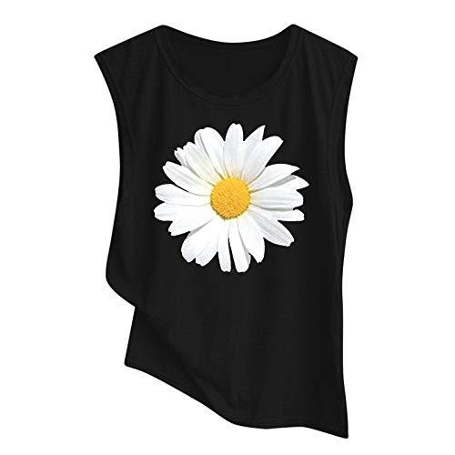 Yowablo Oberteil achselshirt Tank top Damen Sommer Oberteile Weste Tank Frauen Bedruckte Bluse mit rundem Ausschnitt (XL,4schwarz)