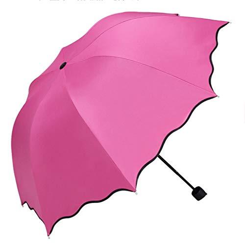 XZ15 Regenschirm mit Wasser, Blüte, Verdickung, schwarzer Kunststoff, Regen, Regenschirm mit doppeltem Verwendungszweck, UV-Schutz, Sonnencreme, Falten, Sonnenschirm, Anleitung, dreifacher Regenschirm