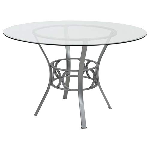 Clear Glass Dining Table (Black)