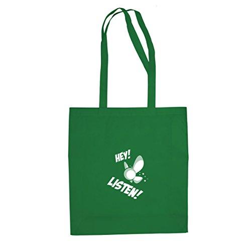 Planet Nerd Hey Listen - Stofftasche/Beutel, Farbe: grün