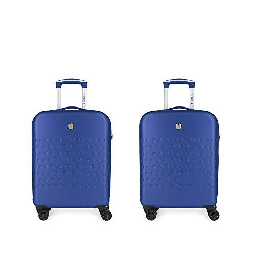 Gabol - Duke | Juego de Maletas de Viaje Rigidas con Cargador USB de Color Azul con 2 Maletas de Cabina