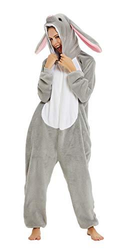 FunnyCos - Pijama unisex para disfraz de disfraz de Halloween para adultos Gris Conejo de oreja larga XL