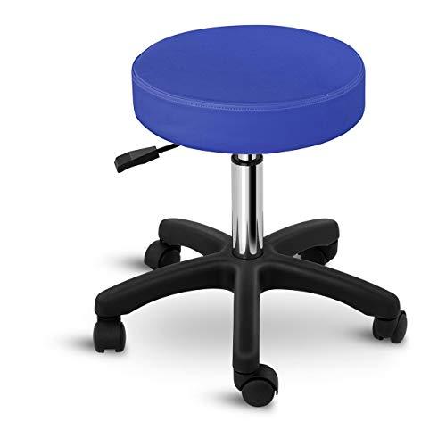 Physa Rollhocker Drehstuhl Arbeitshocker Drehhocker Aversa Blue (blau, Gestell: polierter Stahl, Sitz: PVC und Schaumstoff, Sitzhöhe: 45-58 cm, belastbar bis 150 kg)