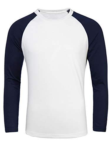 Sourcingmap Homme Long Raglan Manches Blocs de Couleur Coupe Régulière Confort T-Shirt Blanc 44