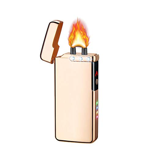 Dual Arc Lighter Double Arc Lighter USB Rechargeable Windproof Flame Plasma Electronic No Gas Good for Cigar Candle Cigarette (Gold)