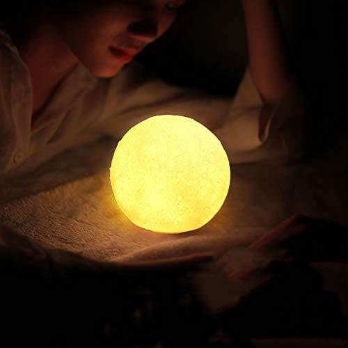 BUSONG Vollmondlampe wiederaufladbare Led 3D Printing Moon Lamp Light Romantic Desk Lamp Warm Light and White Light for Baby Children Friend Present and Home Decoration (11cm)