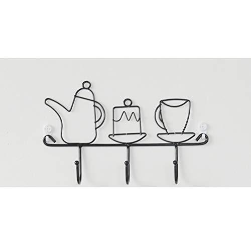 FTW Perchero De Gancho para Llaves con Arte De Hierro Simple Nórdico, Perchero Creativo para Puerta (Color : Kettle Shape)