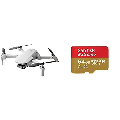 DJI Mini 2 - Ultraleggero e Pieghevole Drone Quadcopter, 3 Assi Gimbal con Camera 4K + Sandisk Extreme Scheda di Memoria Microsdxc da 64 GB e Adattatore SD