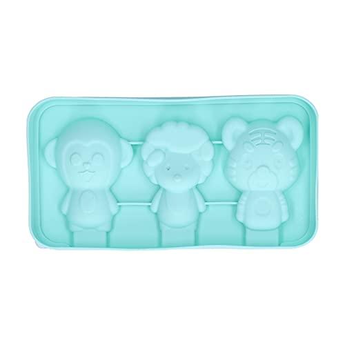 Molde de silicona para helado, modelo de bricolaje con forma de animal con moldes para helado con tapa, verde claro, 3 modelos(Tigre mono oveja)