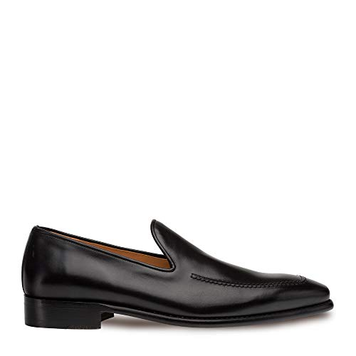 Mezlan Curtana - Mens Luxury Dress Slip Ons - Hand Burnished Venetian Style Loafer - Handcrafted in Spain - Medium Width (Black, 10.5)