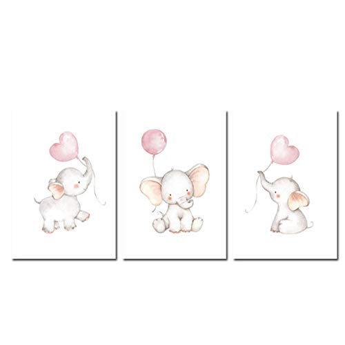 wymhzp Druck Auf Leinwand Malerei Kindergarten Wandkunst Kinder Poster Elefanten Ballon Kinder Dekoration Bild Baby Mädchen Schlafzimmer Dekor 50x70 cm x 3 Kein Rahmen