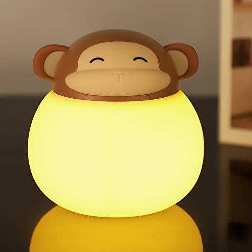 Opard Nachtlicht Kind, Baby Nachtlampe mit Touch Schalter,1h Timer Farbtemperatur 1800-6500K Touch Lampe, LED Nachtleuchte für Babyzimmer, Schlafzimmer, Wohnräume, Camping, Picknick (Braun-Affe)