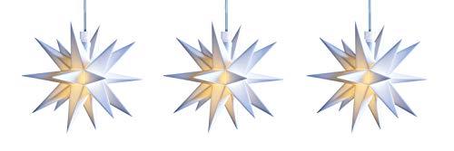 3D LED Stern Ø 12 cm Weihnachtsstern Batterie Ministern Innen Kunststoff Stern klein Leuchtstern Deko für innen Indoor von Dekowelt (3er Kette weiß)