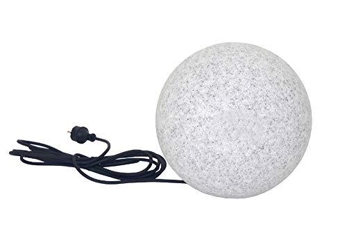 Trango 1er Set 250GB IP65 Gartenkugel inkl. 1x 4 Watt E27 LED Leuchtmittel in Granitstein-Optik *NATURE* Kugelleuchte mit 25cm Durchmesser & ca. 5 Meter IP44 Kabel Gartenleuchte, Leuchtkugel