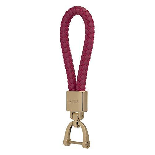 Skipper Anhänger Schlüsselanhänger aus Edelstahl und Leder/Nylon - Gold/Pink 8056