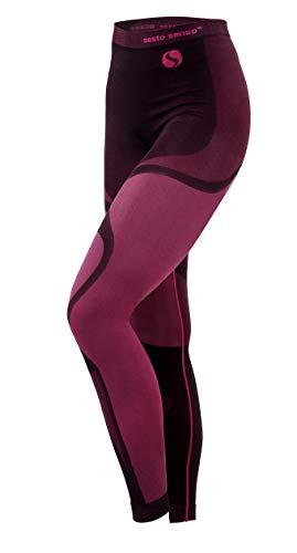 Sesto Senso® Damen Funktionsunterwäsche Lange Unterhose Schnelltrocknend Funktionsleggings Skiunterwäsche Skibekleidung Sportbekleidung Fahrrad Motor - THERMOACTIVE (S, Rosa Hose)