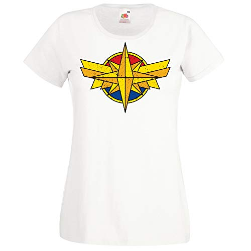 Youth Designz Donna T-Shirt Maglietta Motivo Captain Superheldin - Bianco L