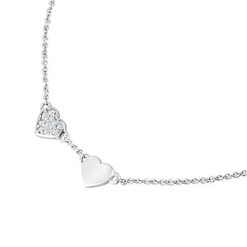 Diamond Line Damen-Kette mit Herz-Anhänger 375e Weißgold 10 Diamanten