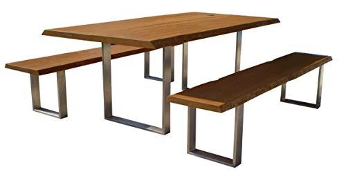 Sitzgarnitur Elegance I Bank und Tisch aus massiver Eiche | Made in Germany | Gartenmöbel oder Parkbank I Sitzgruppe I Holzmöbel I Massivmöbel I Outdoormöbel