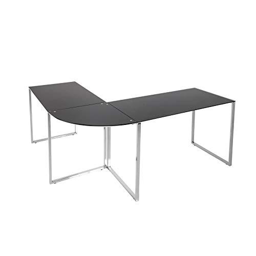 riess-ambiente.de Eck-Schreibtisch Big Deal Glas schwarz Bürotisch Schreibtisch Tisch Glastisch