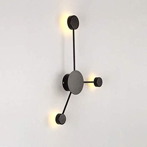 ZZYJYALG Luces de pared LED modernas, lámparas de luces interiores de acabado negro- 2/3/ 6 cabezas, apliques de pared con iluminación auxiliar for sala de estar Lámpara de pared de luz de dormitorio