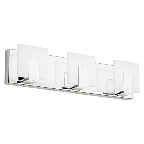 Aipsun 3 Lights Modern LED Vanity Light for Bathroom Frosted White Acrylic Chrome Up and Down...