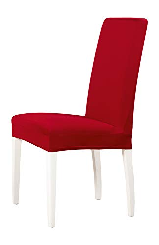 2-er Set Jersey Stuhlhusse | Elastische Stretch-Hussen | Stuhlhussen in Markenqualität | Elegante Stuhlbezüge| Rot