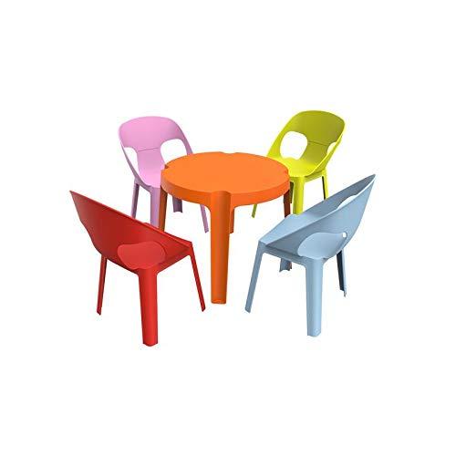 resol Rita set infantil para interior, exterior, jardín - 1 Mesa Naranja + 4 Sillas Roja/Rosa/Azul/Lima