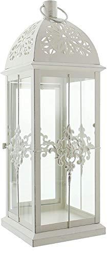 khevga Lanterna in metallo barocco bianco in stile shabby chic 39 cm grande