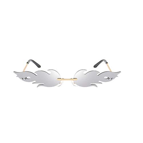 TOYANDONA Flamme Form Brillen Flamingo Sonnenbrille Punk-Stil Sunglasses Sommer Vintage Katzenaugen-Sonnenbrille Retro kleine Rahmen Damen Frauen Mädchen Silber