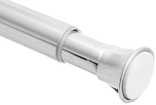 Amazon Basics Tension Curtain Rod, Adjustable 24-36' Width - Chrome Finish