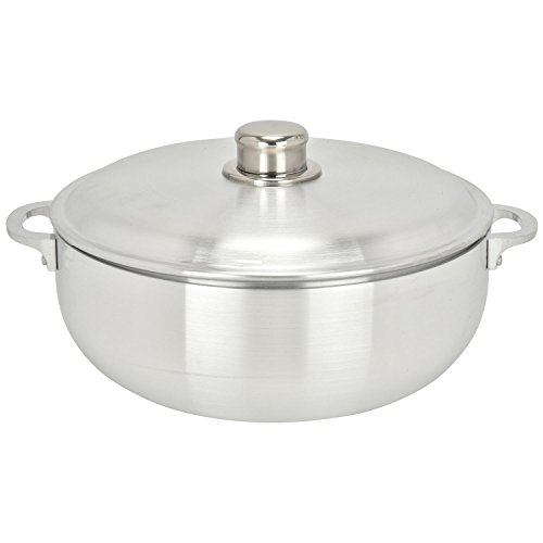 ALUMINUM CALDERO STOCK POT by Chef Pro, Aluminum, Superior Cooking Performance for Even Heat Distribution, Perfect For Serving Large and Small Groups, Riveted Handles, Commercial Grade (7.4 Quart)