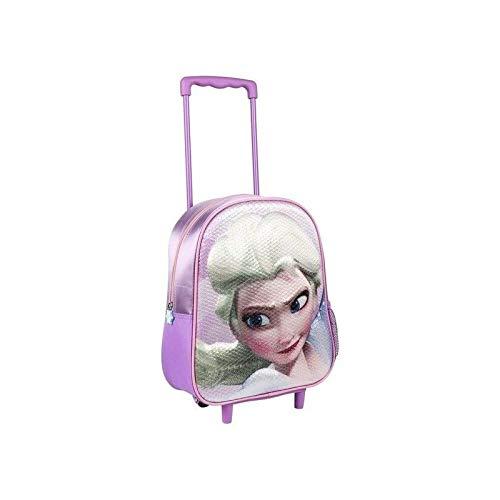 Mediawave Store - Zaino mini trolley Frozen 21-2660 25 x 33 x 10 cm, Zainetto scuola per bambina, Asilo, Passeggiate, con Personaggio, Manica Allungabile e maniglia per il Trasporto 21-2660