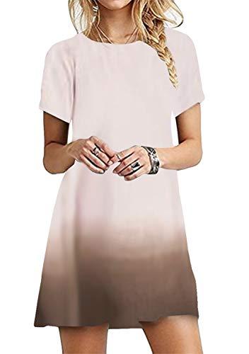 OMZIN Damen Strandmode Basic Rundhals Casual Kleid Basic Tunika Strandkleider Baumwolle Casual Kleid Shirtkleid Stranddkleid Minikleid Beige XL