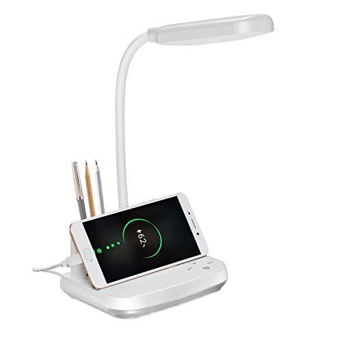 Lampada da Scrivania a LED, Lampada da Scrivania Ricaricabile BZBRLZ con porta di Ricarica USB e Portapenne, 3 Modalità Colore e luce Notturna e Oscuramento Continuo, Bianco