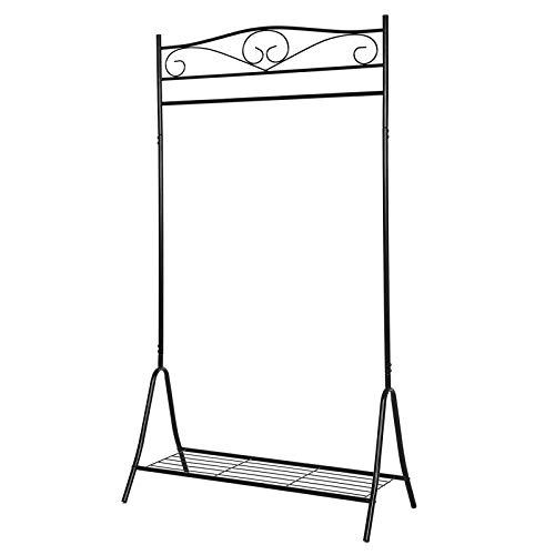 SONGMICS Höhe 173 cm Metall Antik Kleiderständer Kleiderstange Garderobenständer mit Schuhablage, schwarz, HSR01B