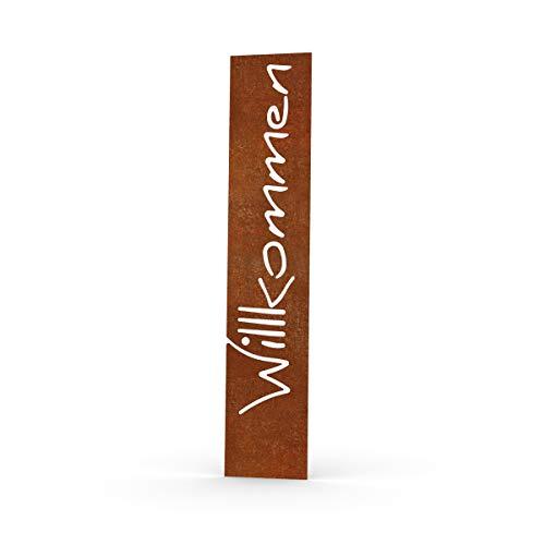 MEILLER MetallDesign | Stele WILLKOMMEN aus Metall für die Gartendekoration (Cortenstahl) 125 cm steckbar