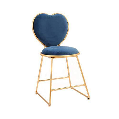JYKOO Moderner Stuhl, Herzförmiger Hocker Aus Schmiedeeisen, Esstisch Und Stuhl, Dressing Chair, Gesamthöhe 80 cm,Blue