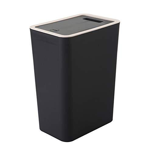 ROYWY Mülleimer 12l mit Deckel, Kunststoff (PP) BPA-frei, schwarz, 12l (34 * 17 * 23cm) Jugendzimmer ROYWY/Black