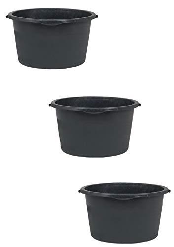 3er Set Mörtelkübel rund 90L Maurertuppen Mörtelkasten schwarz Zementwanne