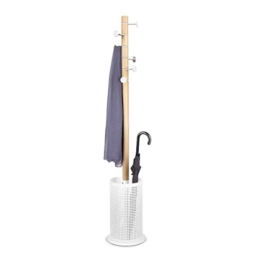 Promenade Standing Coat Rack with Umbrella Stand – Ashwood and Perforated Steel, with 6 Adjustable Hooks – Perfect for Adding Storage Space Anywhere in Your Home –White