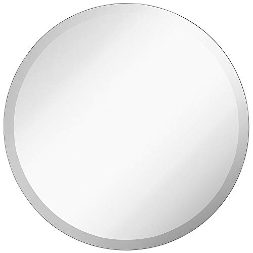 Large Simple Round 1 Inch Beveled Circle Wall Mirror | Frameless 30 Inch...