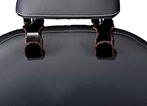 Roost ヘッドレストフック コンビニフック 車用フック 高級 本革 レザー 高級 収納フック 引っ掛けるだけ 吊り下げ ステンレス シートフック 荷物 荷物掛け フック ハンガー シンプル 黒 赤 ブラック レッド 耐荷重30kg 2個セット
