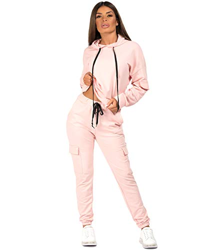 Lexi Fashion Womens Ladies Utility Pocket 2Pcs Drawstring Joggers Bottoms Combat Pants Casual Loungewear Tracksuit Hooded Top Co Ord Set Pink UK Size S/M-8/10